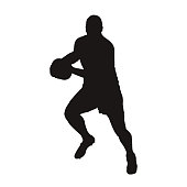 Rugby player running with ball, isolated vector silhouette. Team sport