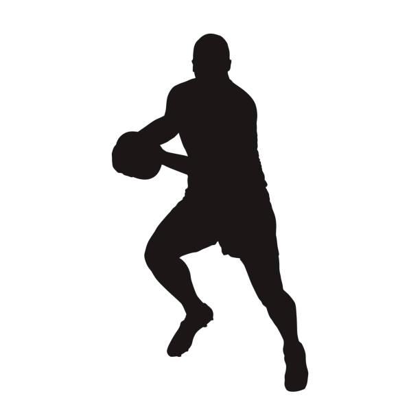 Jogador de rugby, correndo com a bola, silhueta vector isolado. Esporte de equipe - ilustração de arte em vetor