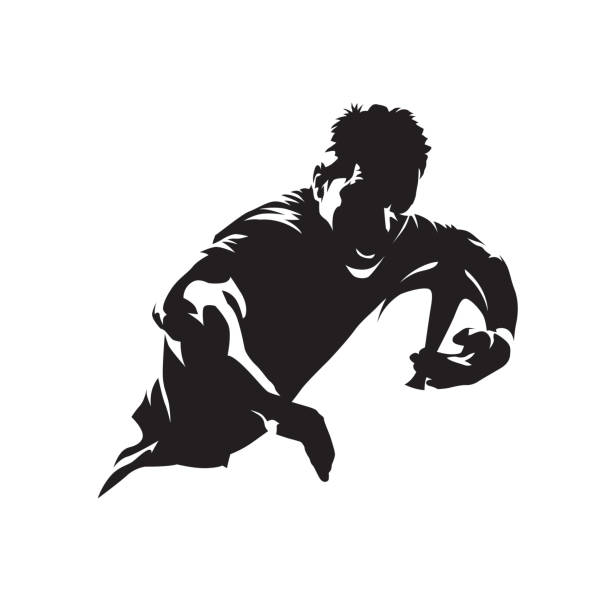 Rugby player running with ball, team sport logo. Isolated vector silhouette Rugby player running with ball, team sport logo. Isolated vector silhouette rugby stock illustrations