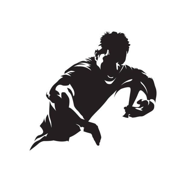 rugby-spieler mit ball, team-sport-logo ausgeführt. isolierte vektor silhouette - rugby stock-grafiken, -clipart, -cartoons und -symbole