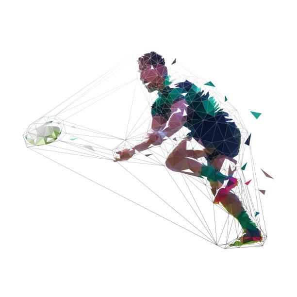 Jogador de rugby, jogando bola, ilustração vetorial poligonal baixa. Esporte de equipe - ilustração de arte em vetor