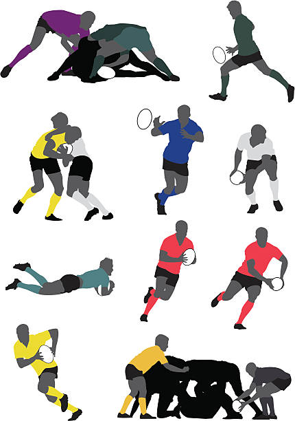 Rugby player Customizable silhouette of rugby player. You can edit the color of the skin, jersey,socks, short and shoes. rugby stock illustrations