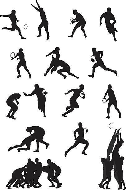 Rugby player Some classic rugby moves in silhouettes. rugby stock illustrations