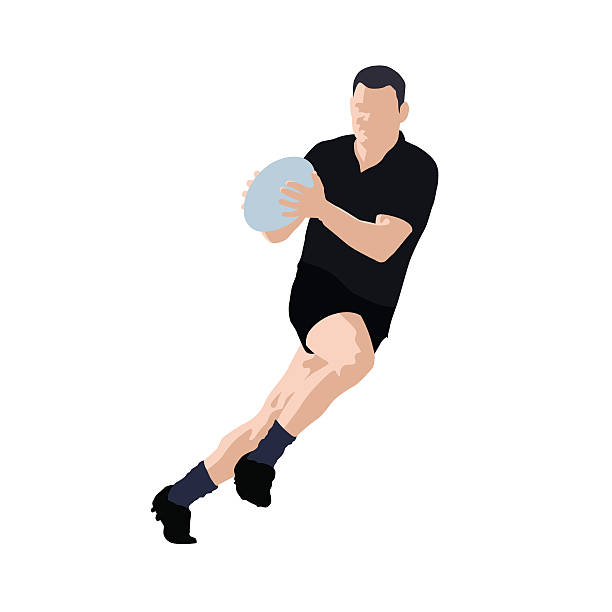 Rugby player vector illustration. Team sport Rugby player vector illustration. Running man with ball in hands. Black jersey. Team sport rugby stock illustrations