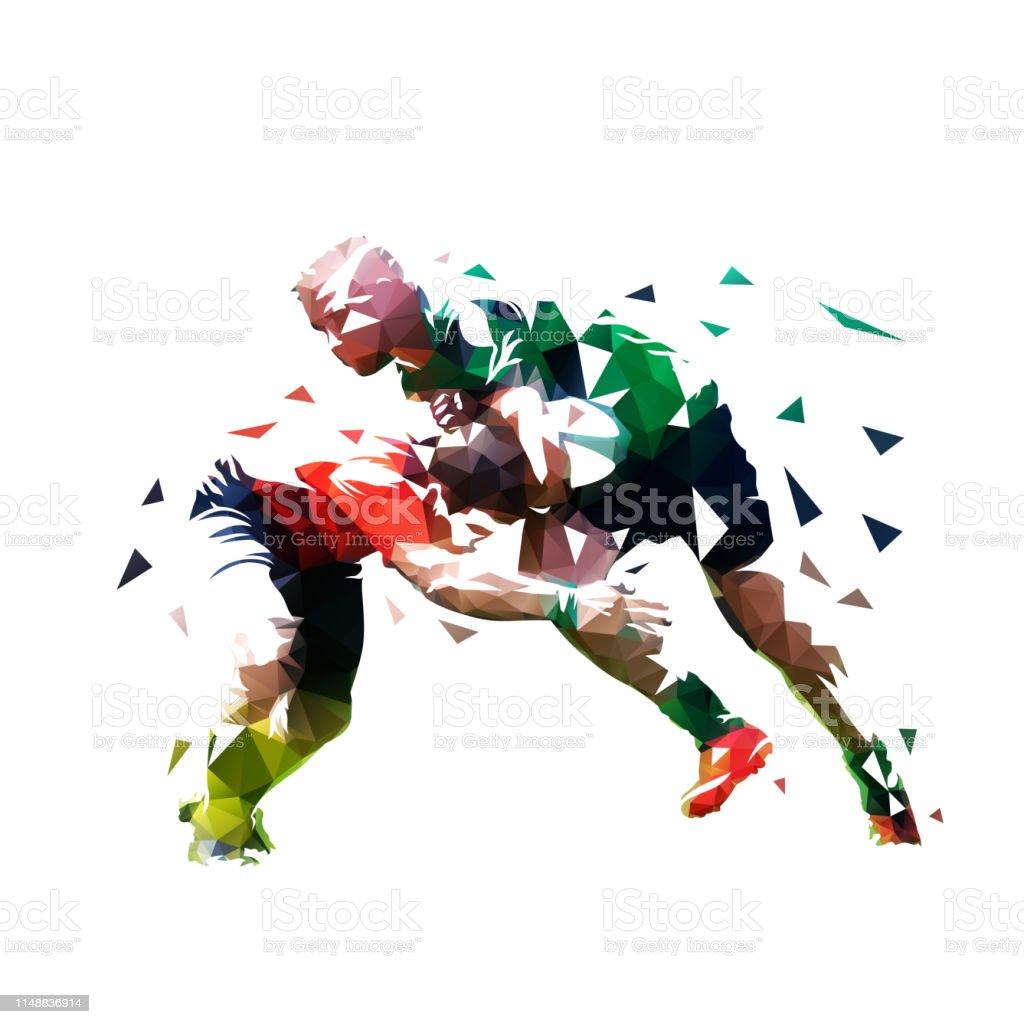 Joueurs de rugby, illustration vectorielle à faible polygone isolée. Deux joueurs de rugby courent l'un vers l'autre - clipart vectoriel de Abstrait libre de droits