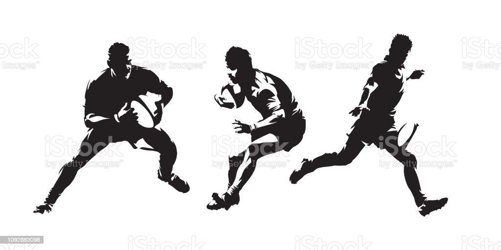ラグビー、ラグビー選手分離ベクトル シルエットのセットします。インク描画を抽象化します。チーム スポーツ ベクターアートイラスト