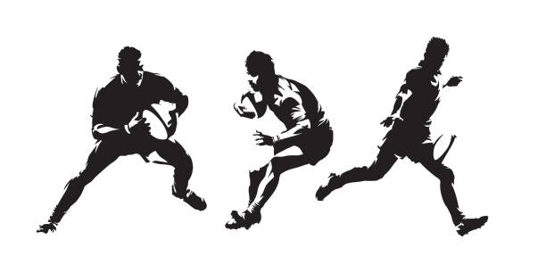 stockillustraties, clipart, cartoons en iconen met rugby, rugby spelers geïsoleerde vector silhouetten set. abstract tekeningen in inkt. teamsport - atleet