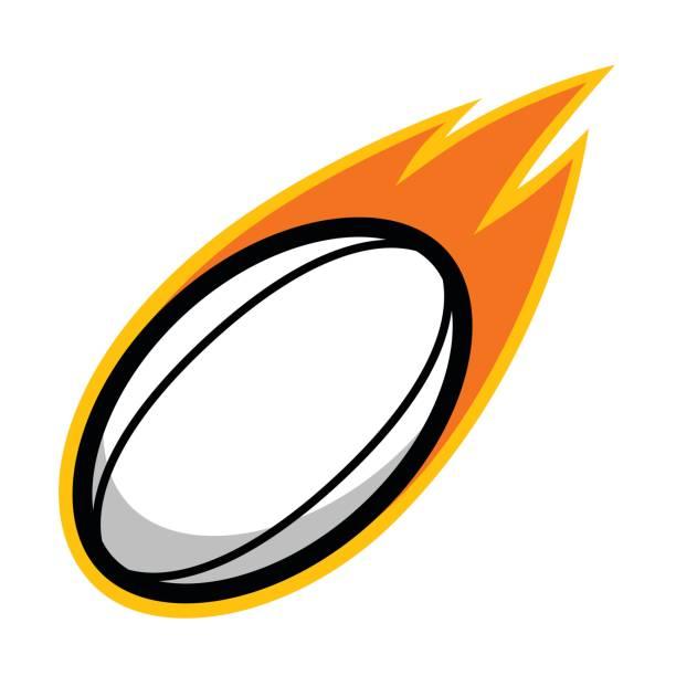 Rugby desporto futebol couro cometa fogo cauda voador ícone - ilustração de arte em vetor