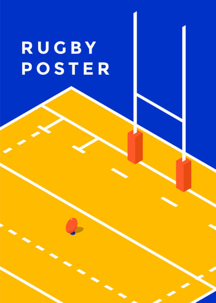 Rugby sport poster Rugby poster desing. Minimal sport cover template. Vector isometric illustration rugby stock illustrations