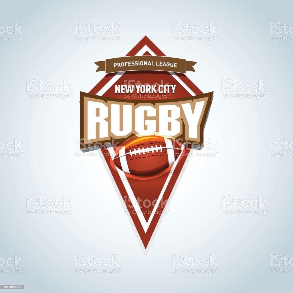 Rugbysportlabel Emblem Rugbyisolierte Abzeichen Emblem Vorlage Sport ...