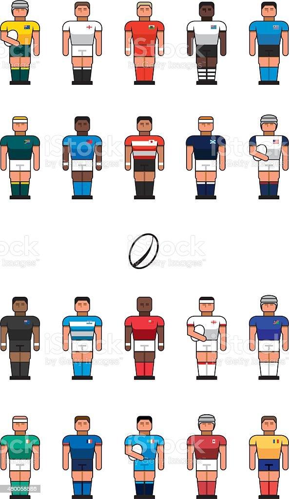 Iconos de equipo de Rugby - ilustración de arte vectorial