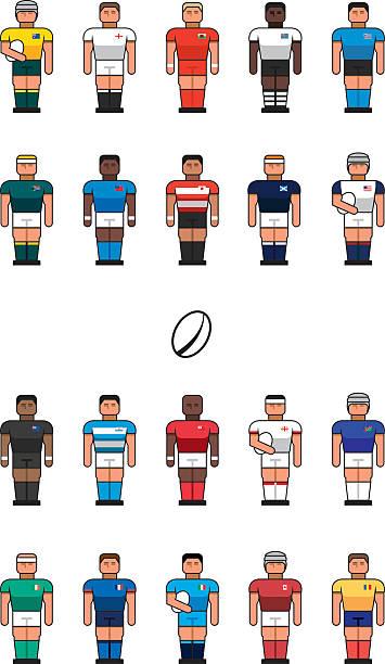Equipe de Rugby de ícones - ilustração de arte em vetor