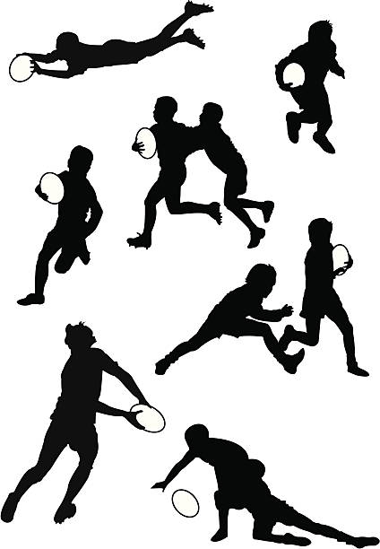Adolescentes de Rugby - ilustração de arte em vetor