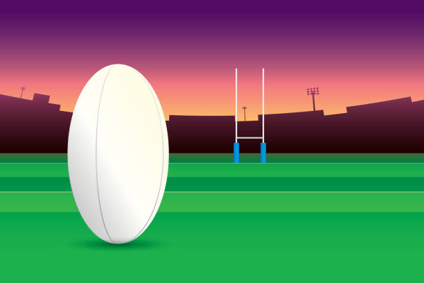 rugby Rugby ball isolated on green field and stadium on purple sky background. rugby stock illustrations
