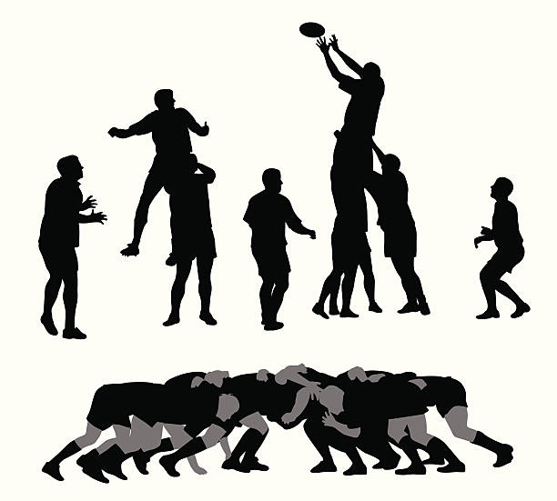 Rugby Vector Silhouette A-Digit rugby stock illustrations