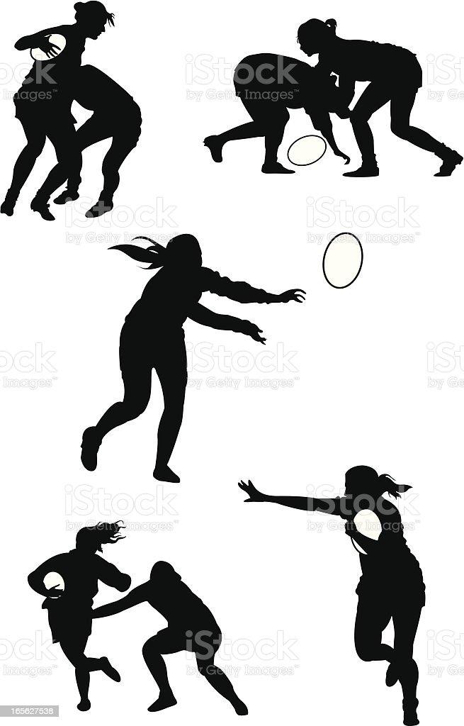 Mujeres de Rugby - ilustración de arte vectorial