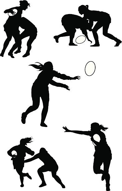 Rugby Women Woman playing rugby rugby stock illustrations