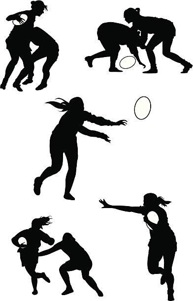 Mulheres de Rugby - ilustração de arte em vetor