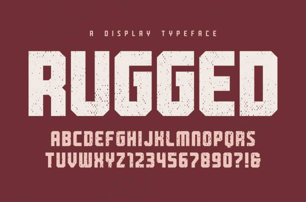 Rugged vector heavy display typeface, font, uppercase letters and numbers, alphabet, typography. Rugged vector heavy display typeface, font, uppercase letters and numbers, alphabet, typography. Global swatches rough stock illustrations