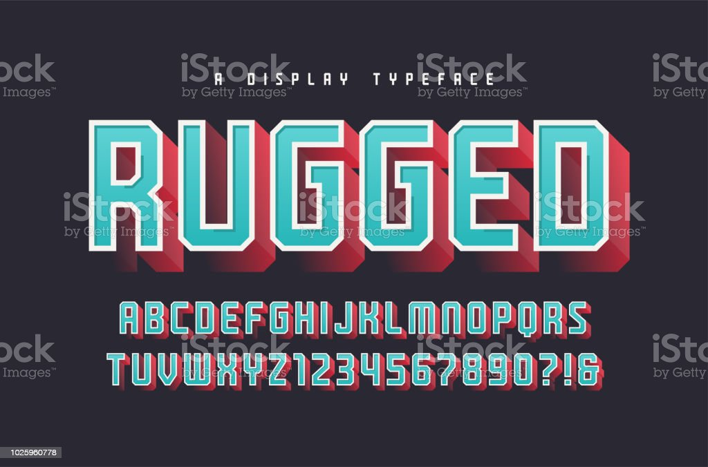 Rugged Vector Stylish 3d Display Typeface Font Uppercase Letters And