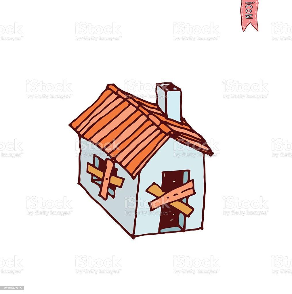 Maison En Ruine Dessin ruin house icon vector illustration stock illustration