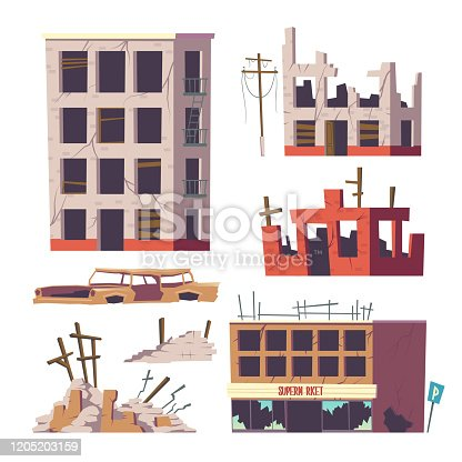 Ruined abandoned houses and car set, old buildings, broken dilapidated dwelling, supermarket real estate and automobile body, design elements isolated on white background, cartoon vector illustration