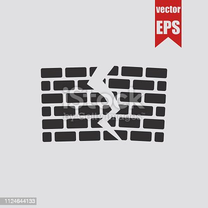 Ruined brick wall icon.Vector illustration.