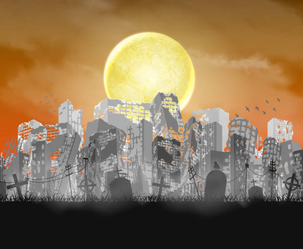 ruined city building  silhouette with moon and red sky ruined city building  silhouette with moon and red sky spooky halloween town stock illustrations