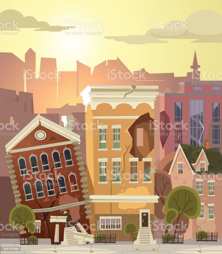 Ruined city vector art illustration