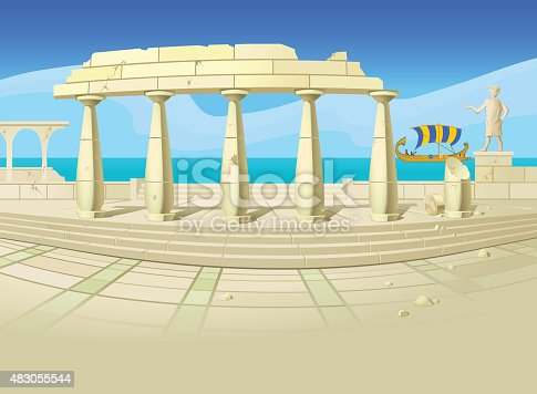 Vector illustration of ruins of an ancient city, with an old-time sailing ship, a blue sea and sky in the background. Empty space leaves room for design elements or text.
