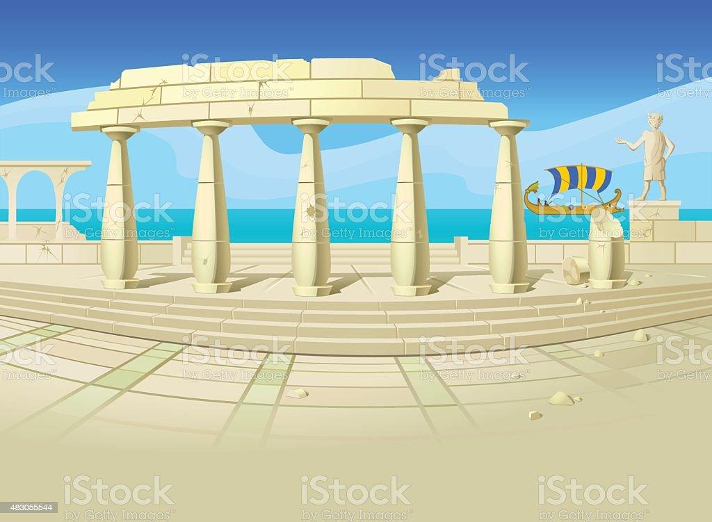 Ruins of an ancient city.Postcard.Poster. Backgorund. vector art illustration