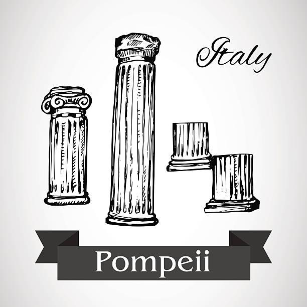 ruinen von pompeji-vektor - pompeii stock-grafiken, -clipart, -cartoons und -symbole