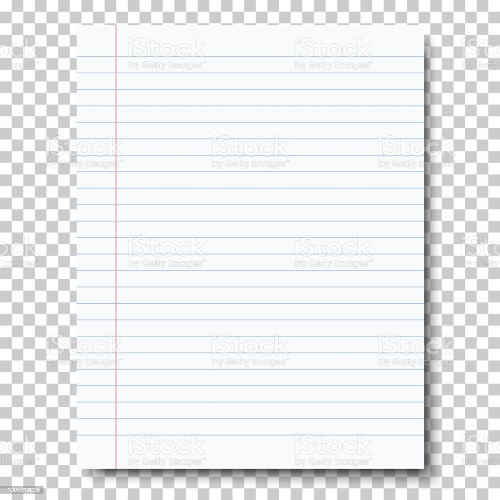 Ruled Sheet Of Notebook Paper Placed On Transparent Background