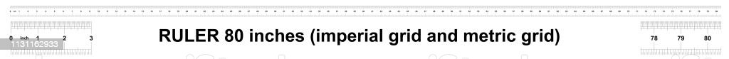 Ruler 80 inches, Imperial and Metric sistem size indicator. The...