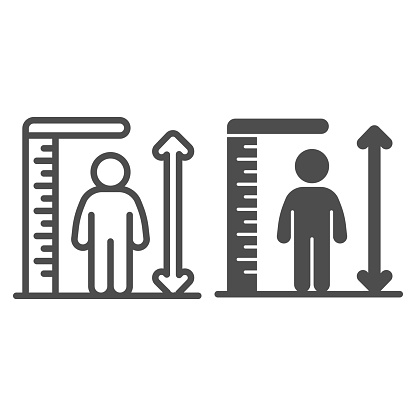 Ruler and human height line and solid icon, Aquapark concept, Man tall scale sign on white background, man and height chart icon in outline style for mobile concept and web design. Vector graphics