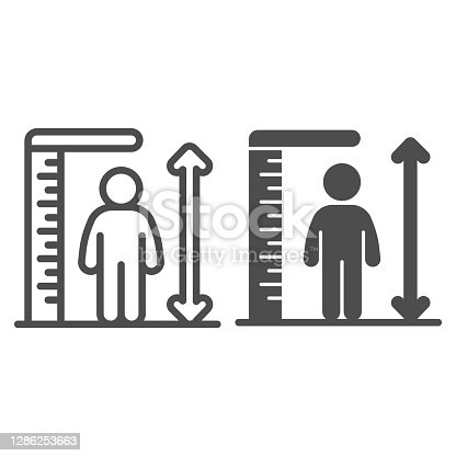 istock Ruler and human height line and solid icon, Aquapark concept, Man tall scale sign on white background, man and height chart icon in outline style for mobile concept and web design. Vector graphics. 1286253663