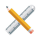 istock Ruler and Pencil Icon on Transparent Background 1283762854