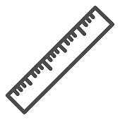istock Ruler line icon, stationery concept, office or school measure tool vector sign on white background, straightedge symbol in outline style for mobile concept and web design. Vector graphics. 1225941582