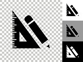 istock Ruler & Pencil Icon on Checkerboard Transparent Background 1224230518