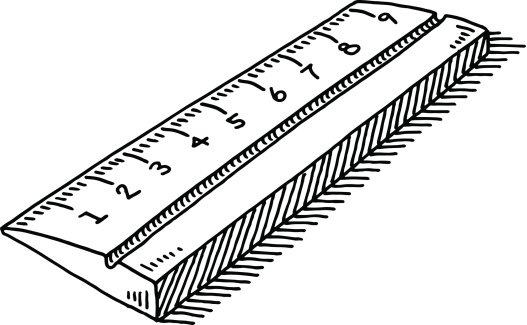 Hand-drawn vector drawing of a Ruler Symbol. Black-and-White sketch on a transparent background (.eps-file). Included files are EPS (v10) and Hi-Res JPG.
