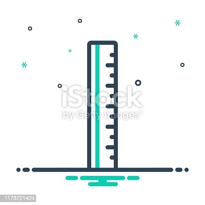 Icon for ruler, yardage, measurement, meterage, dimension, inch, centimeter, straightedge, supplies, tool