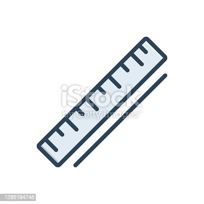 Icon for ruler, yardage, tape, stationery, measurement, geometric, scale, dimension, inch, centimeter, straightedge