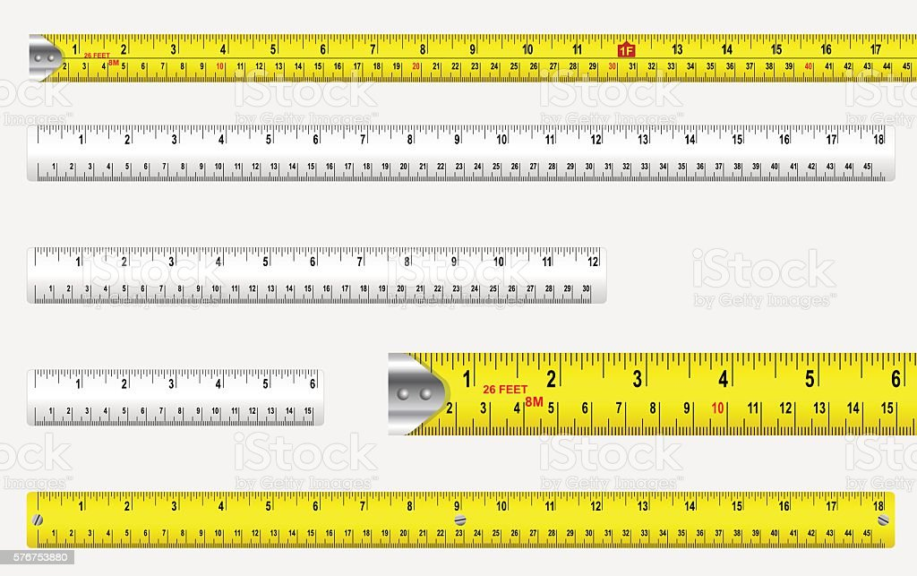 Rulers And Tape Measures vector art illustration