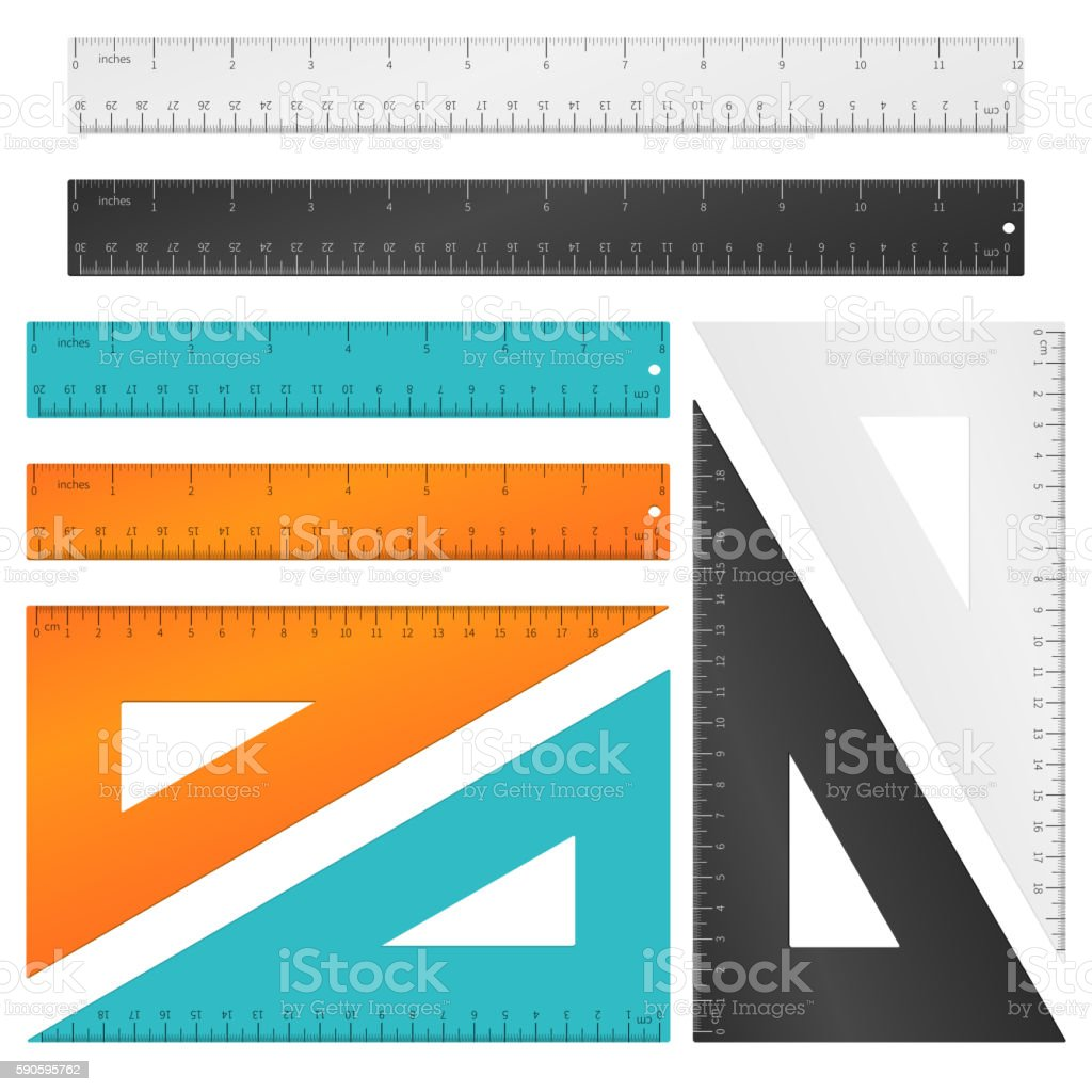 Rulers and triangle with inches, centimeters millimeters scale. Vector set vector art illustration