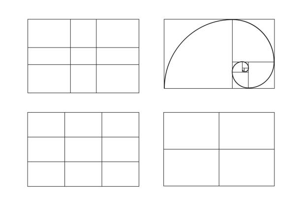rules of photo composition. golden ratio, rule of thirds (rule of thumb), vector illustration. - golden ratio stock illustrations