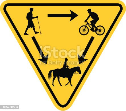 Vector illustration of a Rules of the Trail Yield Sign for Multi-use Trail Users - Hiker, Biker and Horse Rider.