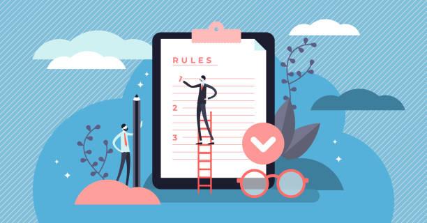 Rules vector illustration. Flat tiny regulations checklist persons concept. vector art illustration