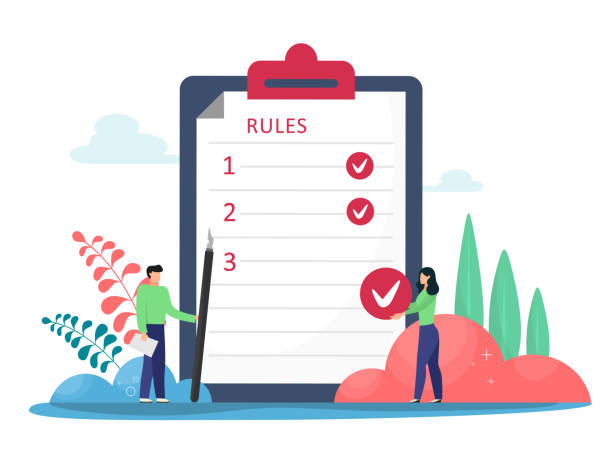 Rules vector illustration. Flat tiny rules checklist persons concept. Principles and strategy of company management for the order and restrictions of the company. Legal Rules Rules vector illustration. Flat tiny rules checklist persons concept. Principles and strategy of company management for the order and restrictions of the company. Legal Rules rules stock illustrations
