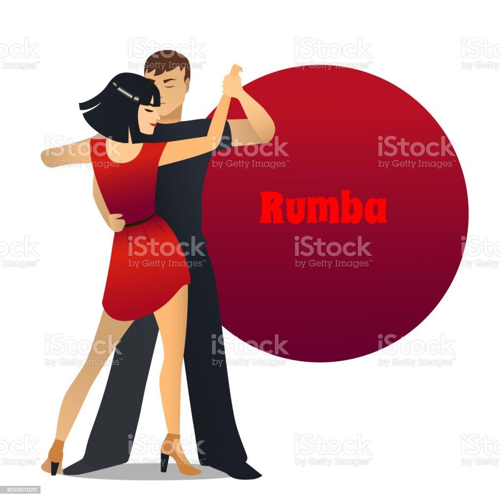 Rumba Tanzpaar Im Cartoonstil Stock Vektor Art und mehr Bilder von ...