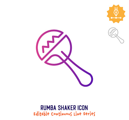 Rumba Shaker Continuous Line Editable Icon